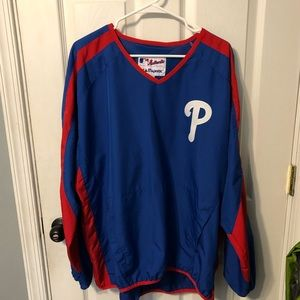 Phillies baseball pullover windbreaker men's sz L